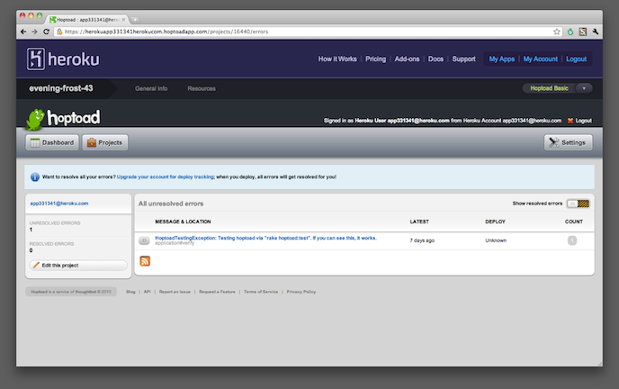 Hoptoad is now available as a Heroku Addon